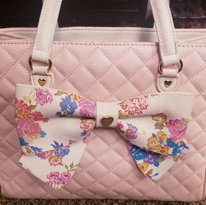 Betsey Johnson Light Pink w/ Floral Bow Purse
